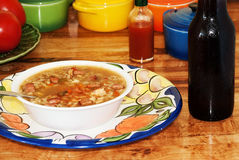 Cold Beer and Hot Gumbo Stock Photo