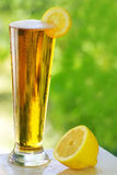 Cold beer and lemon. Royalty Free Stock Photos