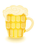 Cold beer in a mug. Frothy cold beer in a mug. Isolated over white background. Vector file saved as EPS AI8 is now pending inspection Royalty Free Stock Images