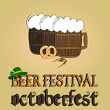 Cold beer poster. Oktoberfest beer festival. Royalty Free Stock Image