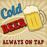 Cold beer retro poster. Vintage cold beer poster on retro style, vector illustration Royalty Free Stock Photography