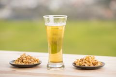 Beer and peanuts Royalty Free Stock Images