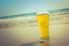 Cold Beer With the sea Royalty Free Stock Images