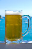 Cold beer with sea and sky in the background. Cold beer with foam in a misty glass with sea and sky in the background Royalty Free Stock Photography