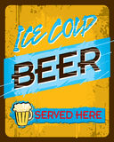 Cold Beer Sign. An ice cold beer sign with 'Served Here Stock Photo