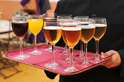 Cold beer and soft drinks, bartender, catering service Royalty Free Stock Images