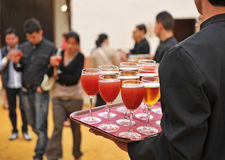 Cold beer and soft drinks, bartender, catering service Stock Photo