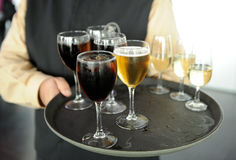 Cold beer, soft drinks and white wine, bartender, catering service Stock Photos