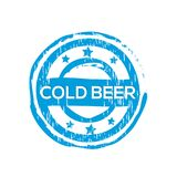 `Cold beer` vector rubber stamp. Label design ready made template Vector Illustration