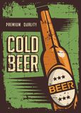 Cold Beer Vintage Retro Signage Vector. Graphic design bar Stock Images