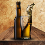 Cold beer on wood table Stock Photos