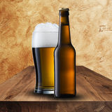 Cold beer on wood table Royalty Free Stock Photo