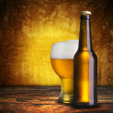 Cold beer on wood table Royalty Free Stock Photography