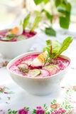 Cold beet soup Stock Photo