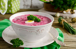 Cold beet soup with egg, cucumber, potatoes and greens Stock Photography