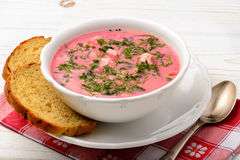 Cold beet soup - polish and russian cuisine. Stock Image