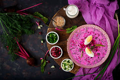 Free Cold Beetroot Beet Soup On Yogurt With Egg Stock Images - 98250774
