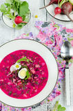 Cold beetroot soup Royalty Free Stock Image