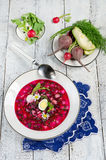 Cold beetroot soup Royalty Free Stock Photography