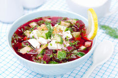 Cold beetroot soup with cucumbers, eggs and herbs Royalty Free Stock Photo