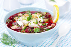 Cold beetroot soup with cucumbers, eggs and herbs in a blue bowl Stock Photo