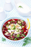 Cold beetroot soup with cucumbers, eggs and herbs in a blue bowl Royalty Free Stock Photography