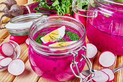 Cold beetroot soup Stock Photography