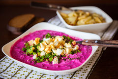 Cold beetroot soup Royalty Free Stock Photos