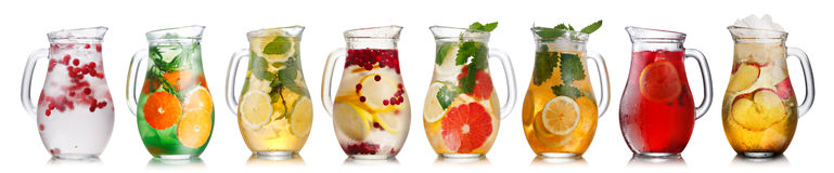 Cold beverages in pitchers Royalty Free Stock Image