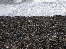 Black winter sea 3. Cold black winter sea. Russia, Sochi royalty free stock photography