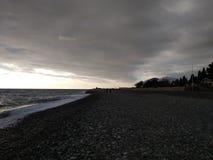 Black winter sea 7. Cold black winter sea. Russia, Sochi stock photos