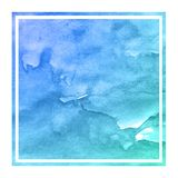 Cold blue hand drawn watercolor rectangular frame background texture with stains. Modern design element stock illustration