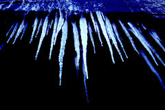 Cold blue icicles. Cold, blue icicles hanging from above stock photography