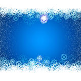 Cold blue night winter background. Cold blue winter sky background with snowflakes. Snowing frame vector illustration. Abstract  banner, winter border Stock Photo