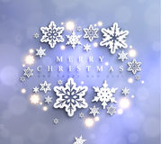 Cold blue sparkling Christmas background with snowflakes. Cold blue sparkling Christmas background with frame made of cutout paper snowflakes Stock Photography
