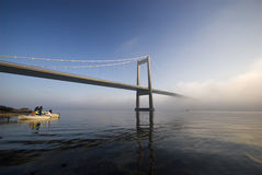 Cold and blue suspension bridge Royalty Free Stock Photography