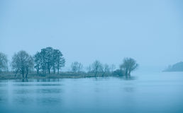 Cold blue toned lake in winter Royalty Free Stock Photos