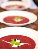 Cold blueberry soup Stock Photos