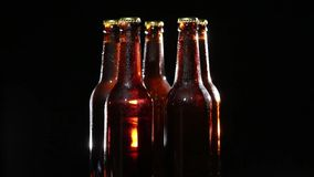 Cold Bottle of Beer on Black Background Stock Photos