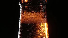 Cold Bottle of Beer on Black Background Stock Photo