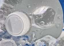 Cold Bottle of Water in cooler with ice Royalty Free Stock Photo