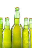 Cold bottles with dew and full of lager Stock Images