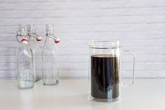 Cold brew coffee in a big glass jar, how to make cold brew coffee at home. stock image