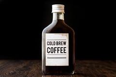 Cold brew coffee in a bottle. Organic beverage royalty free stock photo