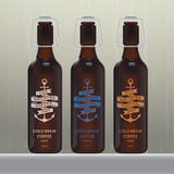 Cold brew coffee bottle set. On wood background Stock Photos