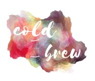 Cold brew coffee hand lettering phrase on watercolor imitation color splash with stack of towering cups Vector Illustration