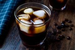 Cold brew coffee with ice or iced coffee. royalty free stock photography