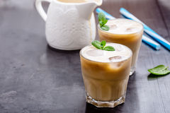 Cold brew coffee. On rustic gray table, simple summer iced drink stock photos