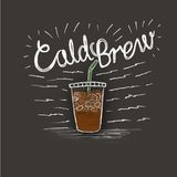 Cold brew and a cup of coffee. In style lettering on black background stock illustration
