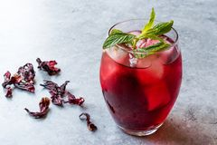 Cold Brew Hibiscus Tea with ice and Mint Leaves. stock photography